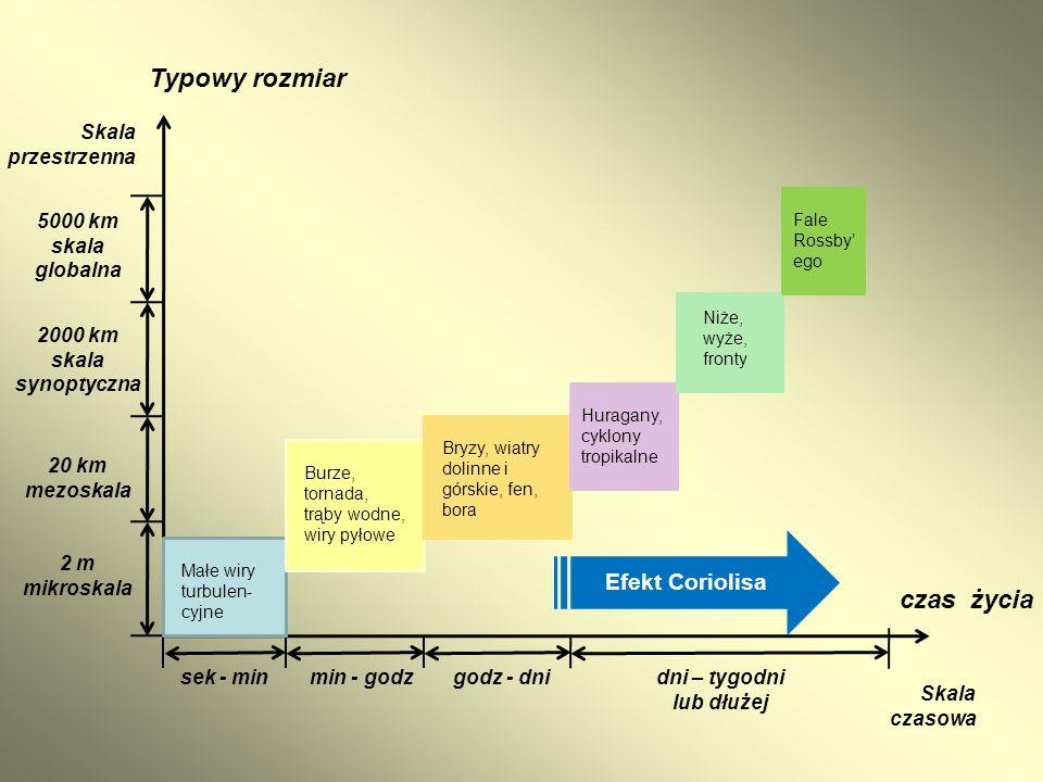 2 m mikroskala 20 km mezoskala 2000 km skala synoptyczna 5000 km skala globalna Skala przestrzenna Typowy rozmiar sek - minmin - godzgodz - dnidni – t