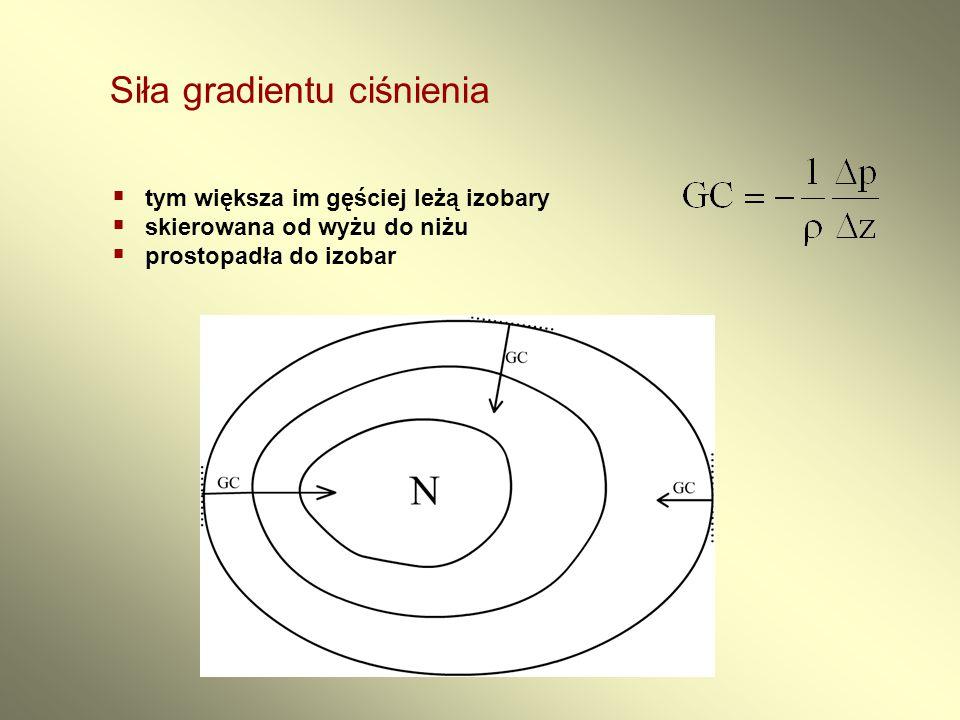 Siła gradientu ciśnienia  tym większa im gęściej leżą izobary  skierowana od wyżu do niżu  prostopadła do izobar