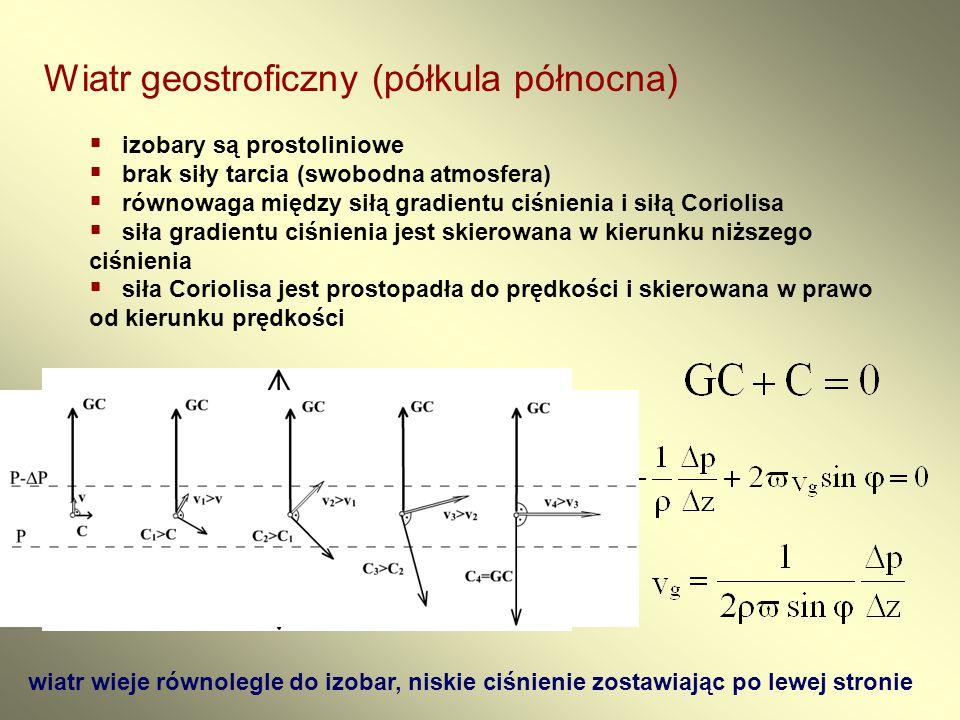 Wiatr geostroficzny (półkula północna)  izobary są prostoliniowe  brak siły tarcia (swobodna atmosfera)  równowaga między siłą gradientu ciśnienia