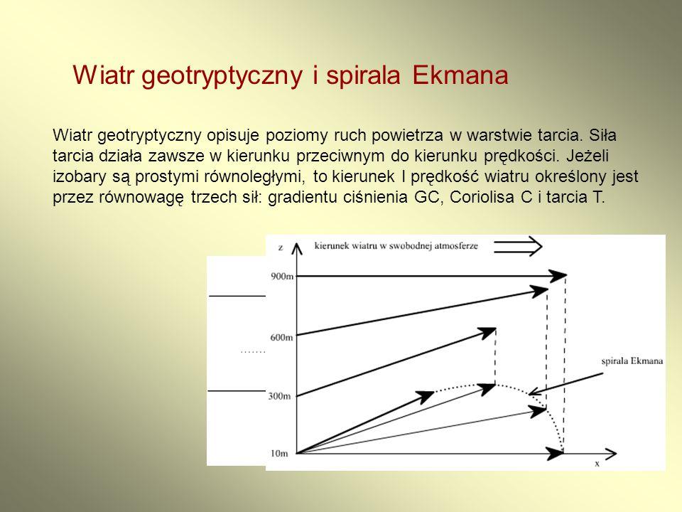 Wiatr geotryptyczny i spirala Ekmana Wiatr geotryptyczny opisuje poziomy ruch powietrza w warstwie tarcia. Siła tarcia działa zawsze w kierunku przeci