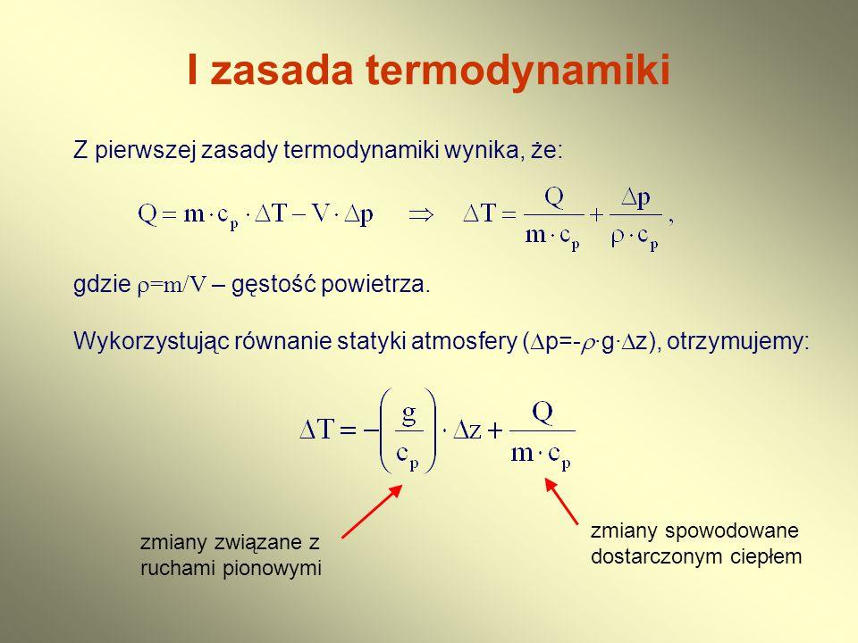 I zasada termodynamiki Z pierwszej zasady termodynamiki wynika, że: gdzie  =m/V – gęstość powietrza. Wykorzystując równanie statyki atmosfery (  p=-