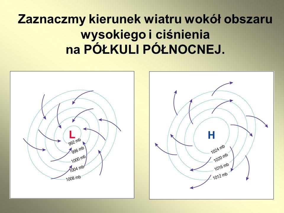 Zaznaczmy kierunek wiatru wokół obszaru wysokiego i ciśnienia na PÓŁKULI PÓŁNOCNEJ.