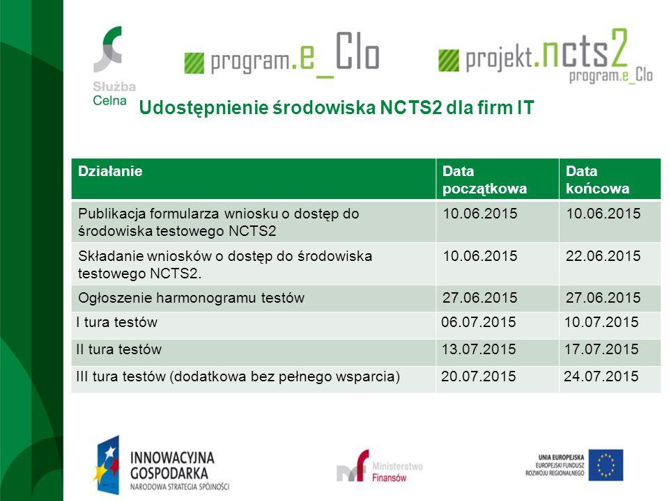 Udostępnienie środowiska NCTS2 dla firm IT DziałanieData początkowa Data końcowa Publikacja formularza wniosku o dostęp do środowiska testowego NCTS2