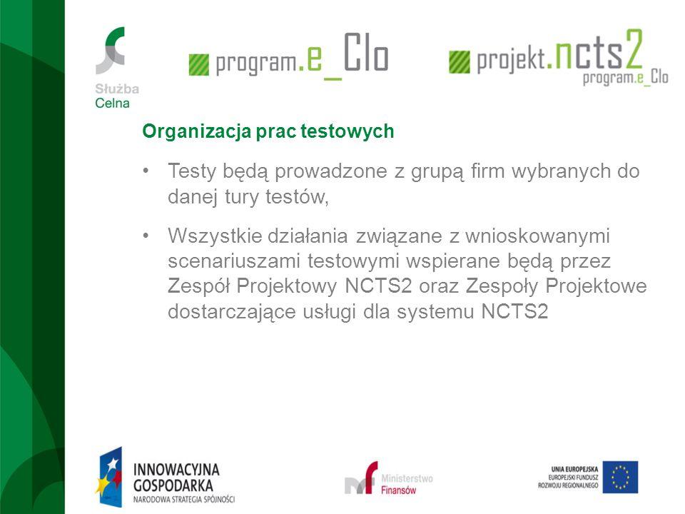 Organizacja prac testowych Testy będą prowadzone z grupą firm wybranych do danej tury testów, Wszystkie działania związane z wnioskowanymi scenariusza