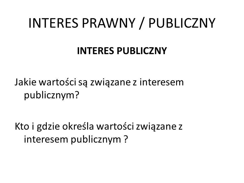 INTERES PRAWNY / PUBLICZNY INTERES PUBLICZNY Jakie wartości są związane z interesem publicznym? Kto i gdzie określa wartości związane z interesem publ