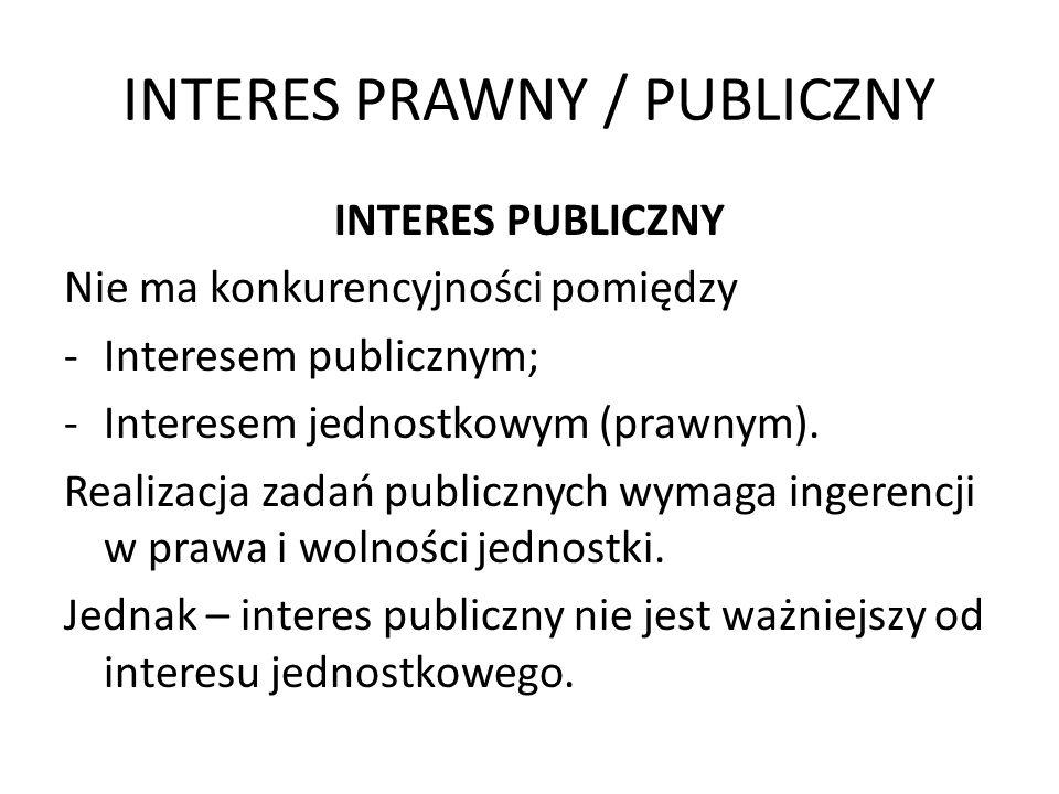 INTERES PRAWNY / PUBLICZNY INTERES PUBLICZNY Nie ma konkurencyjności pomiędzy -Interesem publicznym; -Interesem jednostkowym (prawnym). Realizacja zad