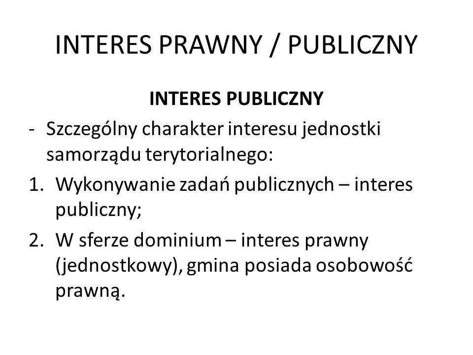 INTERES PRAWNY / PUBLICZNY INTERES PUBLICZNY -Szczególny charakter interesu jednostki samorządu terytorialnego: 1.Wykonywanie zadań publicznych – inte