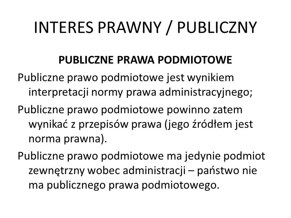 INTERES PRAWNY / PUBLICZNY PUBLICZNE PRAWA PODMIOTOWE Publiczne prawo podmiotowe jest wynikiem interpretacji normy prawa administracyjnego; Publiczne