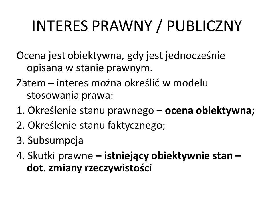 INTERES PRAWNY / PUBLICZNY Pojęcie interesu jest pojęciem-narzędziem; Pojęcie interesu służy opisania ochrony podmiotu zewnętrznego przed administracją publiczną.