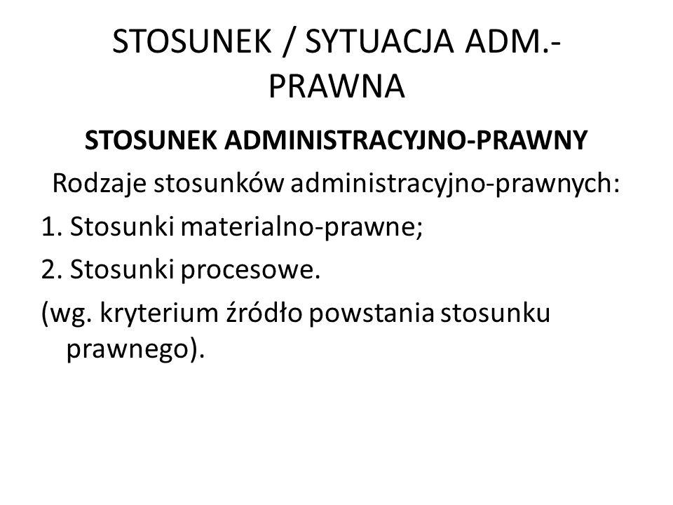 STOSUNEK / SYTUACJA ADM.- PRAWNA STOSUNEK ADMINISTRACYJNO-PRAWNY Rodzaje stosunków administracyjno-prawnych: 1. Stosunki materialno-prawne; 2. Stosunk