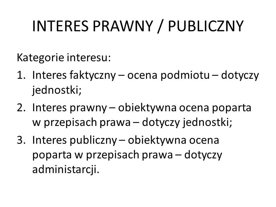 INTERES PRAWNY / PUBLICZNY Kategorie interesu: 1.Interes faktyczny – ocena podmiotu – dotyczy jednostki; 2.Interes prawny – obiektywna ocena poparta w