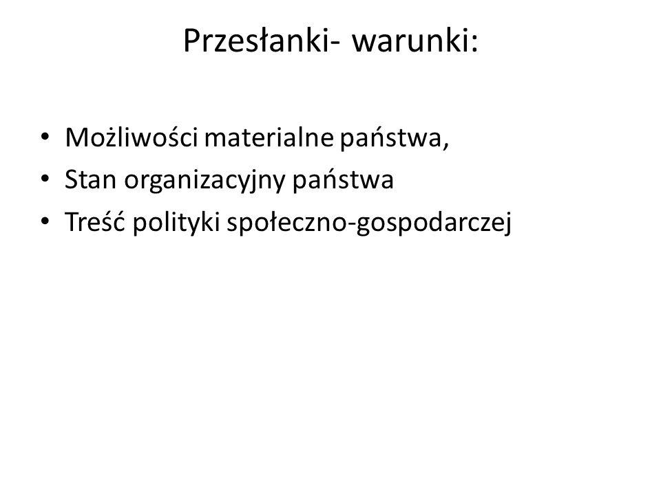Przesłanki- warunki: Możliwości materialne państwa, Stan organizacyjny państwa Treść polityki społeczno-gospodarczej