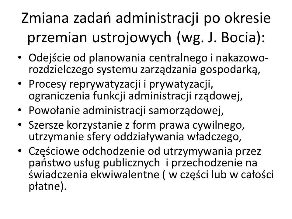 Zmiana zadań administracji po okresie przemian ustrojowych (wg.
