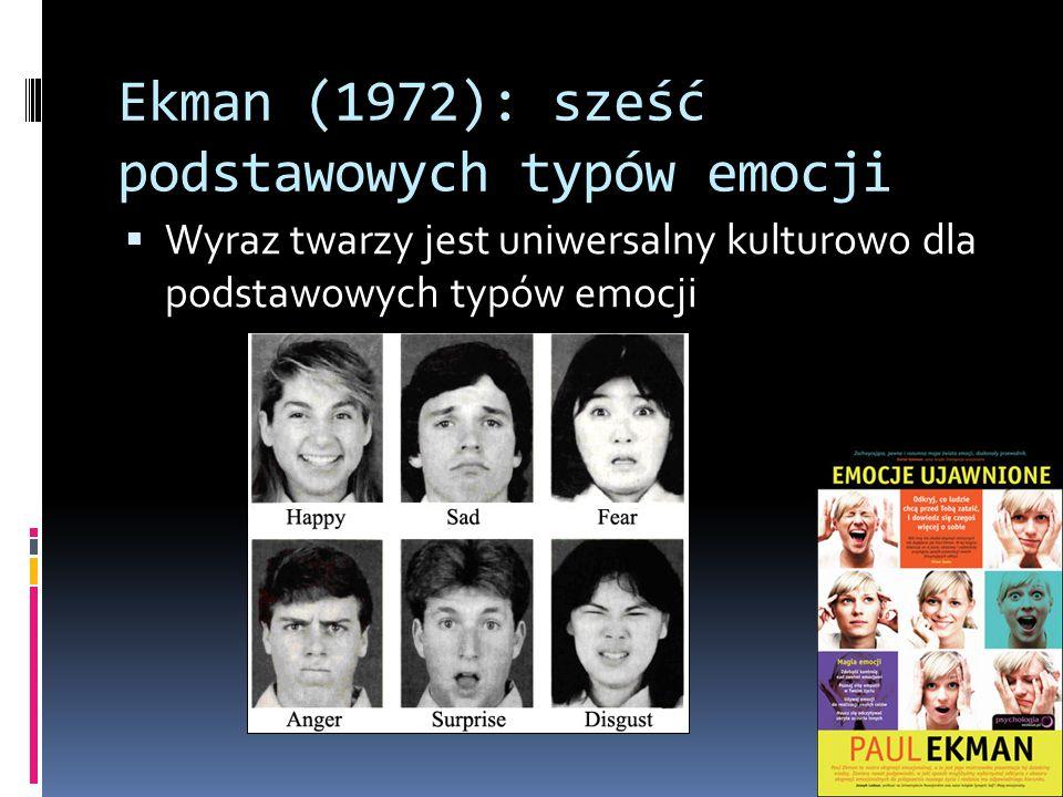 Ekman (1972): sześć podstawowych typów emocji  Wyraz twarzy jest uniwersalny kulturowo dla podstawowych typów emocji