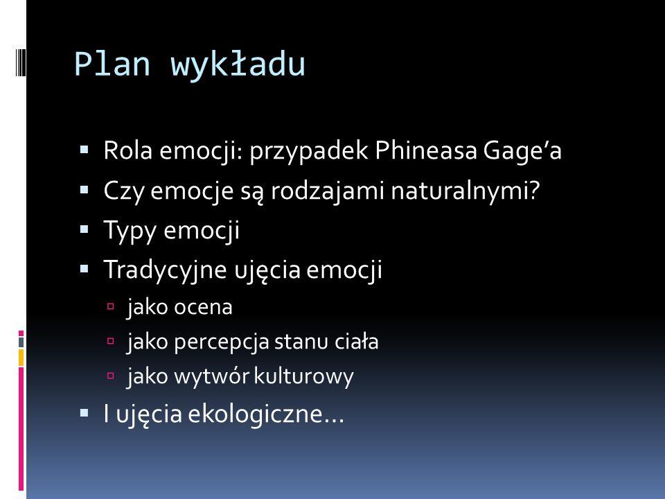 Plan wykładu  Rola emocji: przypadek Phineasa Gage'a  Czy emocje są rodzajami naturalnymi.
