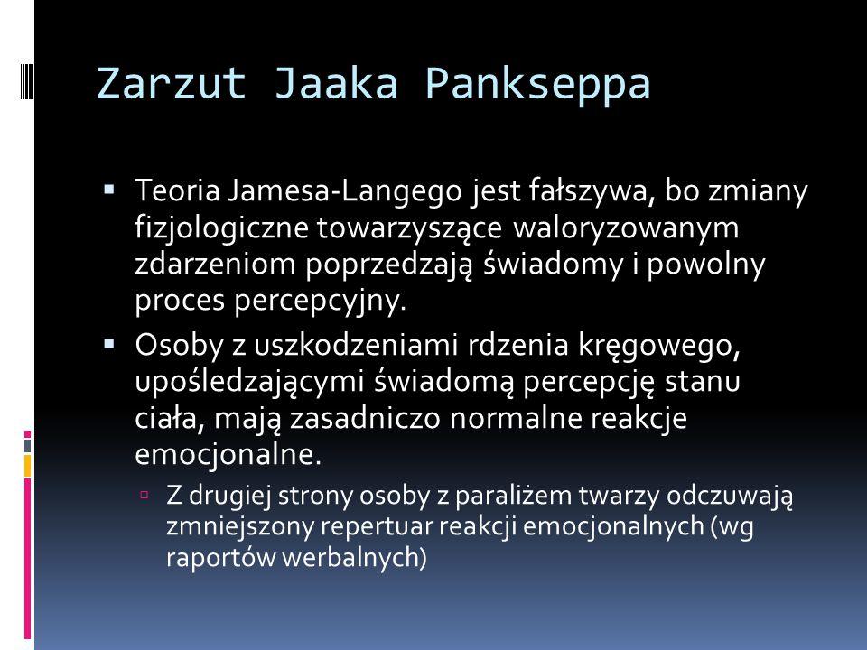 Zarzut Jaaka Pankseppa  Teoria Jamesa-Langego jest fałszywa, bo zmiany fizjologiczne towarzyszące waloryzowanym zdarzeniom poprzedzają świadomy i powolny proces percepcyjny.