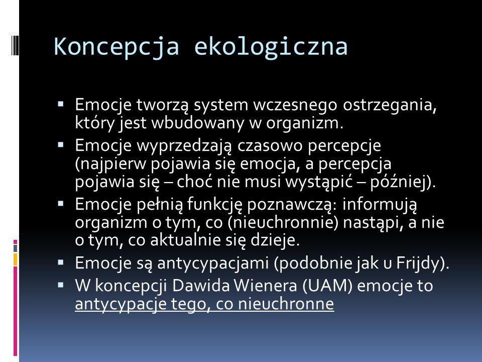 Koncepcja ekologiczna  Emocje tworzą system wczesnego ostrzegania, który jest wbudowany w organizm.