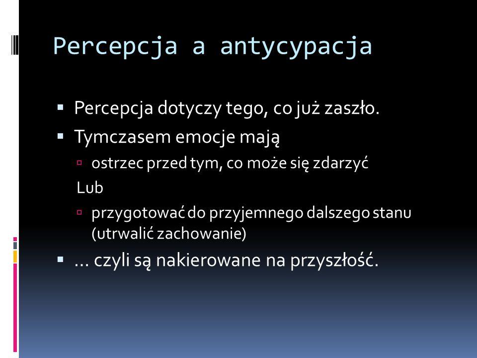 Percepcja a antycypacja  Percepcja dotyczy tego, co już zaszło.