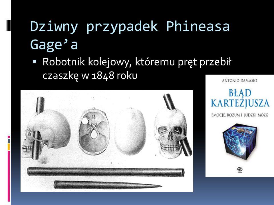 Dziwny przypadek Phineasa Gage'a  Robotnik kolejowy, któremu pręt przebił czaszkę w 1848 roku
