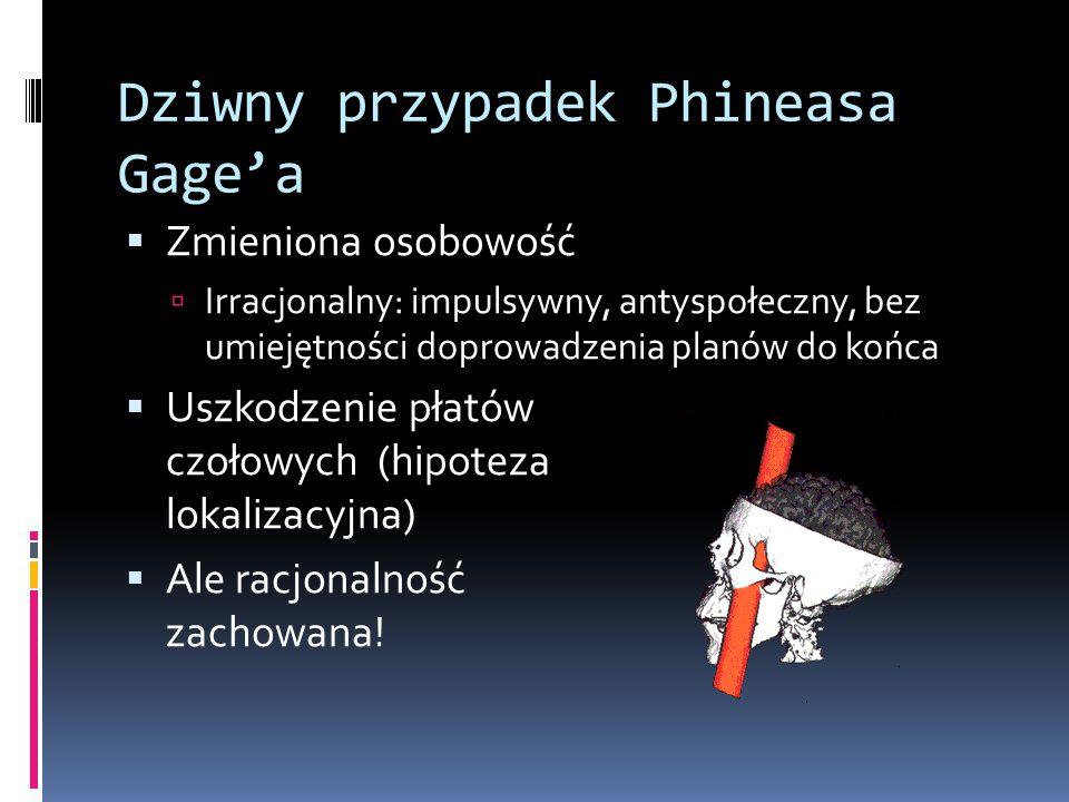 Dziwny przypadek Phineasa Gage'a  Zmieniona osobowość  Irracjonalny: impulsywny, antyspołeczny, bez umiejętności doprowadzenia planów do końca  Uszkodzenie płatów czołowych (hipoteza lokalizacyjna)  Ale racjonalność zachowana!