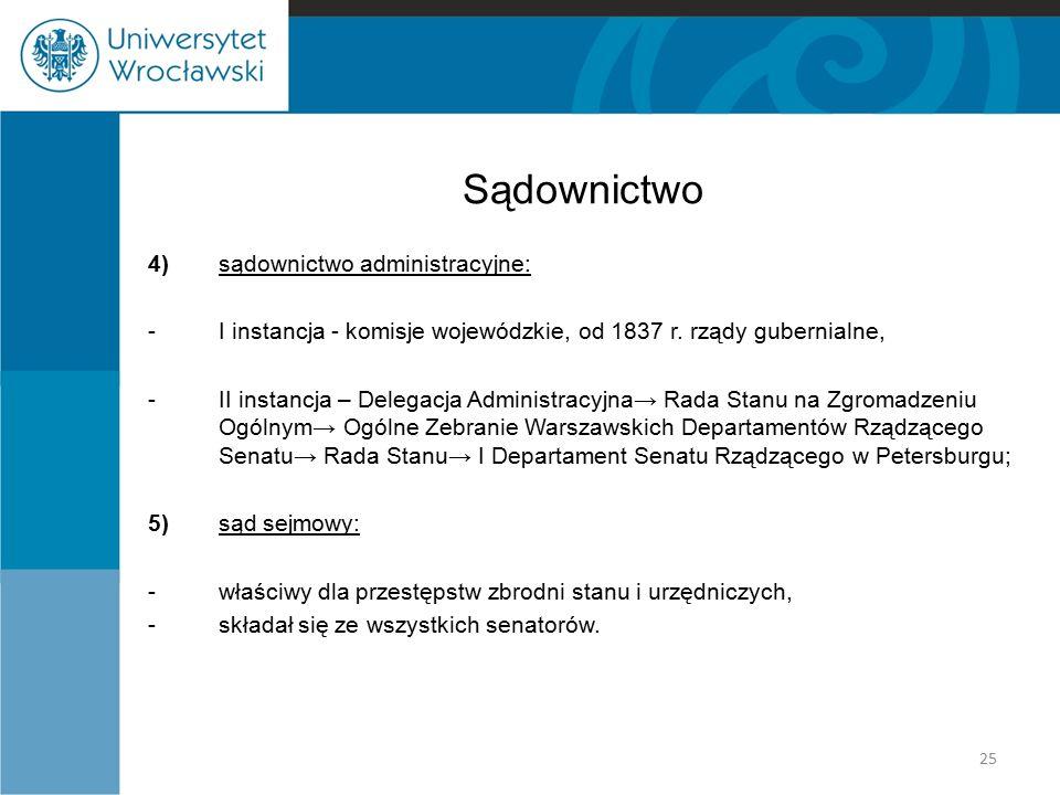 Sądownictwo 4)sądownictwo administracyjne: -I instancja - komisje wojewódzkie, od 1837 r. rządy gubernialne, -II instancja – Delegacja Administracyjna