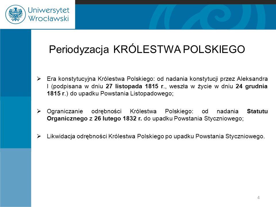 Periodyzacja KRÓLESTWA POLSKIEGO  Era konstytucyjna Królestwa Polskiego: od nadania konstytucji przez Aleksandra I (podpisana w dniu 27 listopada 181