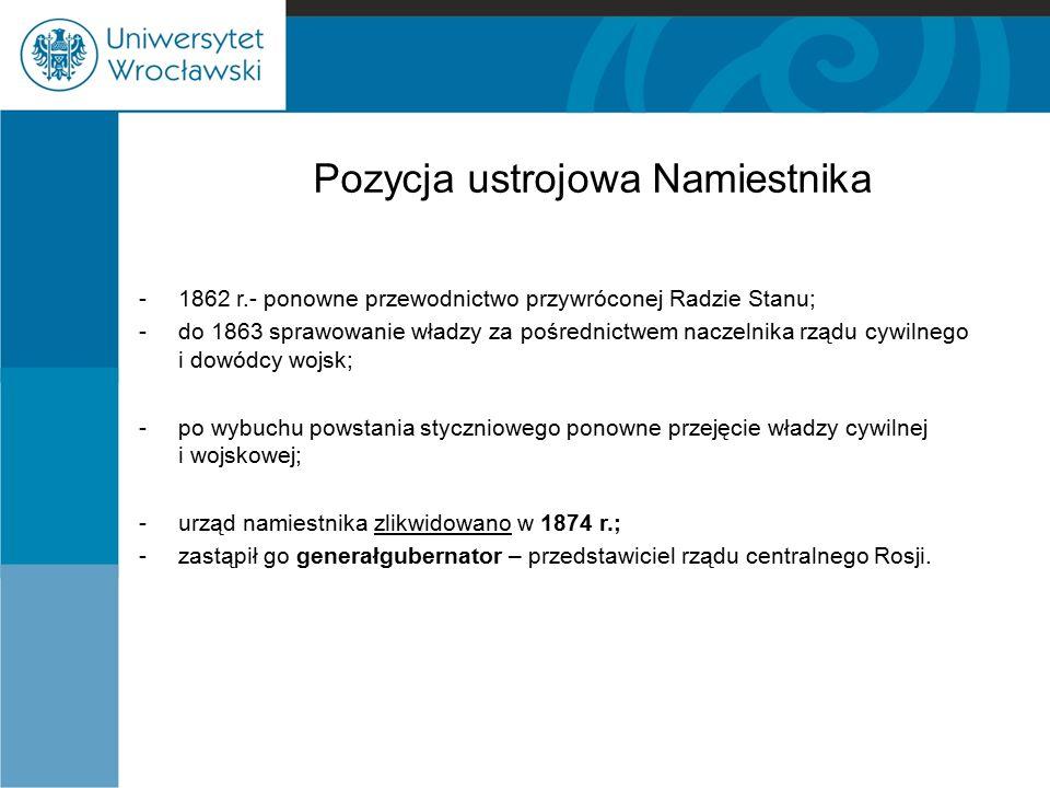 Sejm w Królestwie Polskim Proces ustawodawczy: - inicjowany przez cara za pośrednictwem Rady Stanu, która przygotowywała projekty ustaw,, - trafiały one do jednej z izb, -w izbach zajmowały się nimi właściwe komisje parlamentarne, które wszelkie zmiany konsultowały z Radą Stanu, -następnie trafiały na posiedzenie plenarne senatu lub izby poselskiej, -prawem stawał się projekt przyjęty przez obie izby, po uzyskaniu sankcji królewskiej Ostatnie posiedzenie sejmu odbyło się 23 września 1831 r.