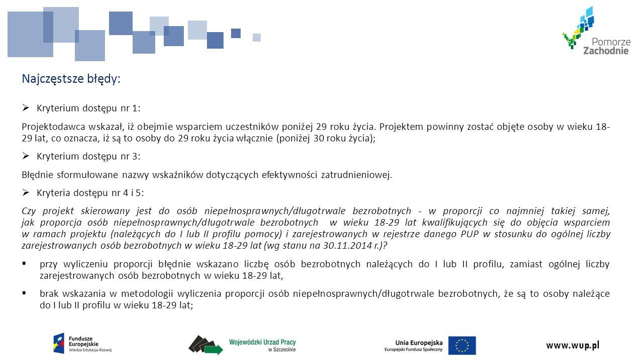 www.wup.pl Najczęstsze błędy:  Kryterium dostępu nr 1: Projektodawca wskazał, iż obejmie wsparciem uczestników poniżej 29 roku życia.