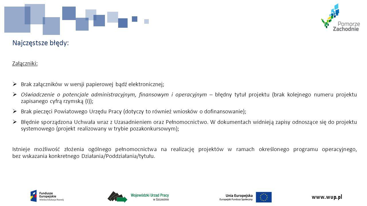 www.wup.pl Harmonogram oceny projektów pozakonkursowych w ramach PO WER ZAKOŃCZENIE OCENY FORMALNEJ WNIOSKÓW I ocena formalna – wszystkie wnioski PUP-ów zostały zwrócone do uzupełnienia II ocena formalna – wnioski PUP w trakcie weryfikacji OCENA MERYTORYCZNA WNIOSKÓW PODPISANIE UMOWY O DOFINANSOWANIE W RAMACH PODDZIAŁANIA 1.1.2 PO WER 5.2015 5/6.2015