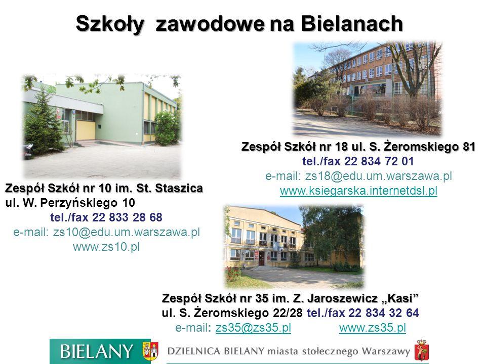 Szkoły zawodowe na Bielanach Zespół Szkół nr 10 im. St. Staszica Zespół Szkół nr 10 im. St. Staszica ul. W. Perzyńskiego 10 tel./fax 22 833 28 68 e-ma