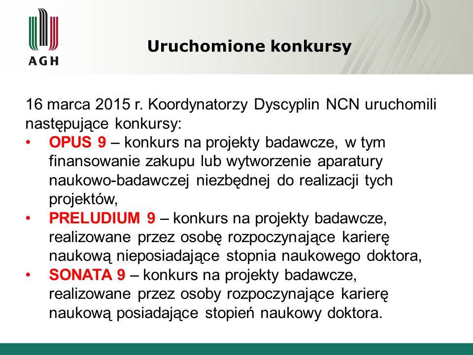 Uruchomione konkursy 16 marca 2015 r. Koordynatorzy Dyscyplin NCN uruchomili następujące konkursy: OPUS 9 – konkurs na projekty badawcze, w tym finans