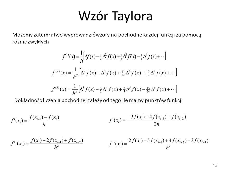 Wzór Taylora 12 Możemy zatem łatwo wyprowadzić wzory na pochodne każdej funkcji za pomocą różnic zwykłych Dokładność liczenia pochodnej zależy od tego