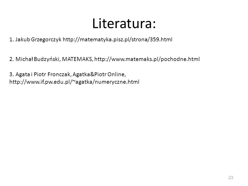 Literatura: 23 1. Jakub Grzegorczyk http://matematyka.pisz.pl/strona/359.html 2. Michał Budzyński, MATEMAKS, http://www.matemaks.pl/pochodne.html 3. A