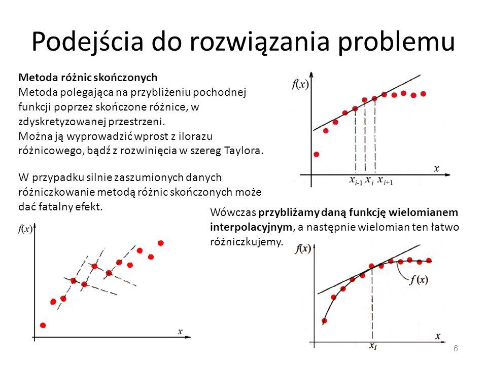 Podejścia do rozwiązania problemu 6 Metoda różnic skończonych Metoda polegająca na przybliżeniu pochodnej funkcji poprzez skończone różnice, w zdyskre