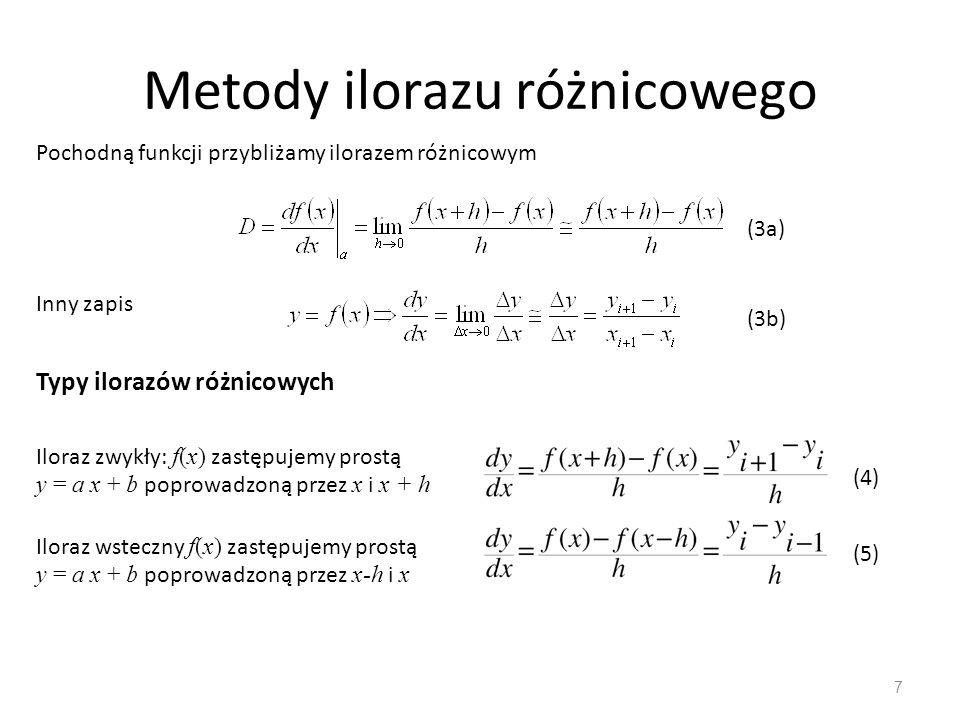Metody ilorazu różnicowego 7 Pochodną funkcji przybliżamy ilorazem różnicowym Inny zapis Typy ilorazów różnicowych Iloraz zwykły: f(x) zastępujemy pro