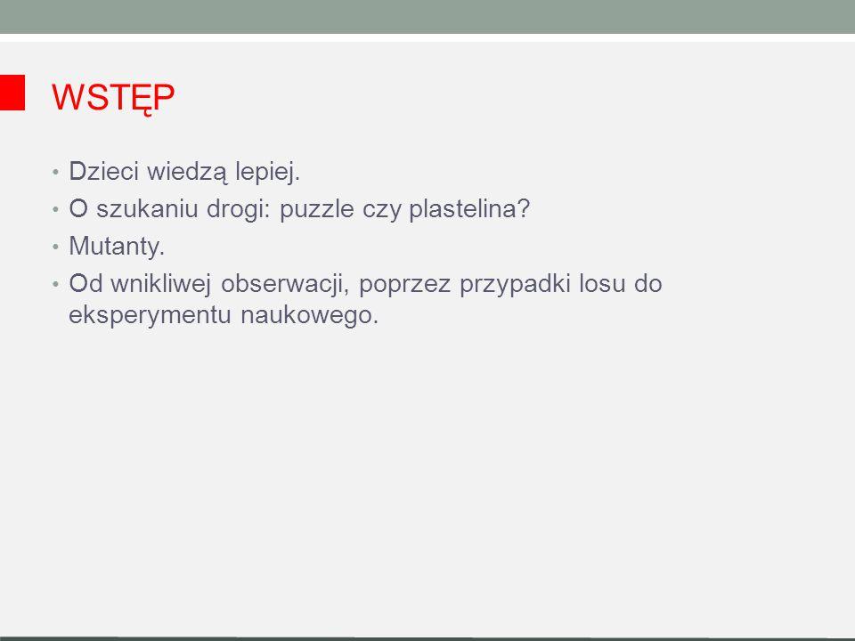 WSTĘP Dzieci wiedzą lepiej.O szukaniu drogi: puzzle czy plastelina.