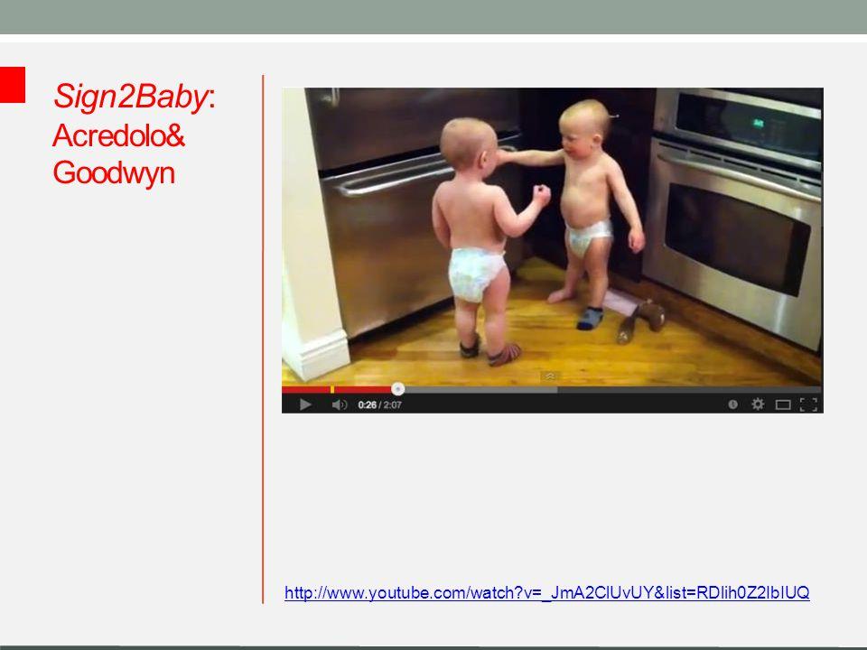 Sign2Baby: Acredolo & Goodwyn Linda Acredolo i Susan Goodwyn (psychologowie): stymulacja okresu gestu w okresie prelingwalnym w celu budowania komunikacji pomiędzy niemowlęciem i rodzicem.