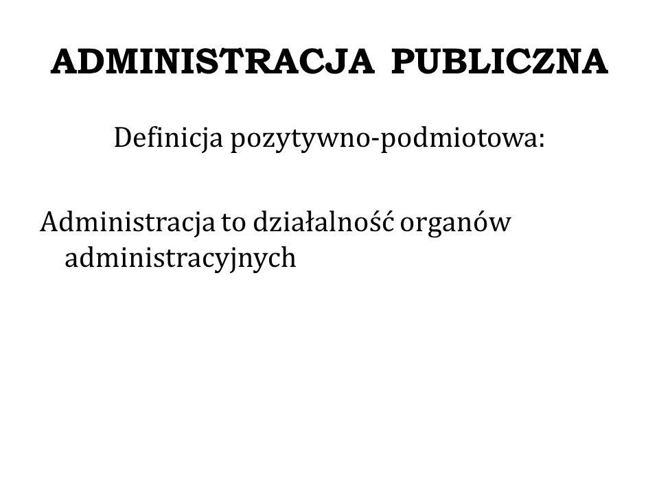 PRAWO ADMINISTRACYJNE Definicje prawa administracyjnego Prawo administracyjne – dotyczy administracji publicznej, które obejmuje określenia wytworzone dla organizacji i działania administracji publicznej