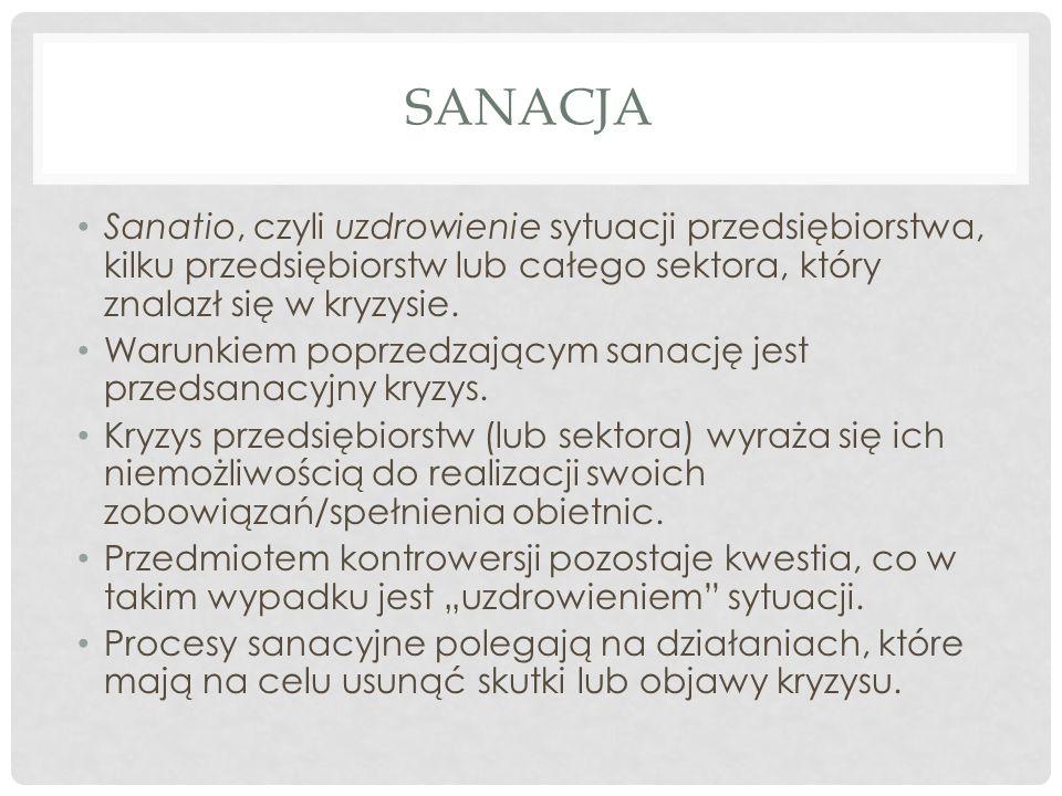 SANACJA Sanatio, czyli uzdrowienie sytuacji przedsiębiorstwa, kilku przedsiębiorstw lub całego sektora, który znalazł się w kryzysie.