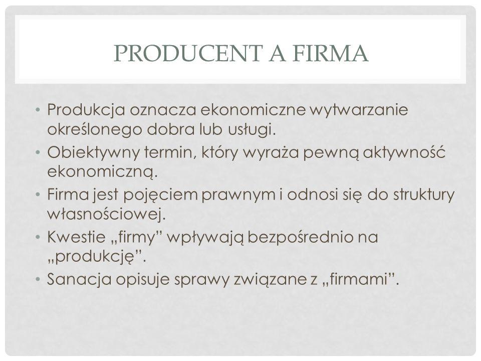 PRODUCENT A FIRMA Produkcja oznacza ekonomiczne wytwarzanie określonego dobra lub usługi.
