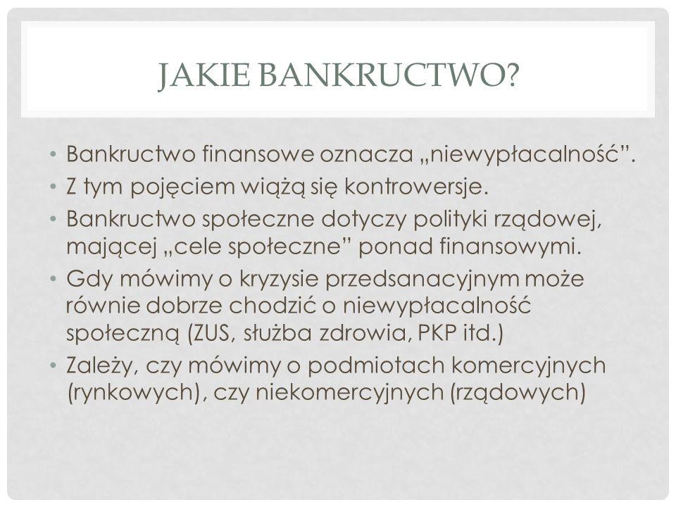 """JAKIE BANKRUCTWO.Bankructwo finansowe oznacza """"niewypłacalność ."""