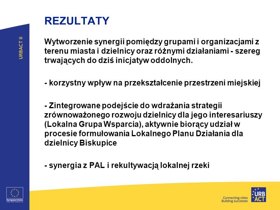 REZULTATY Wytworzenie synergii pomiędzy grupami i organizacjami z terenu miasta i dzielnicy oraz różnymi działaniami - szereg trwających do dziś inicj
