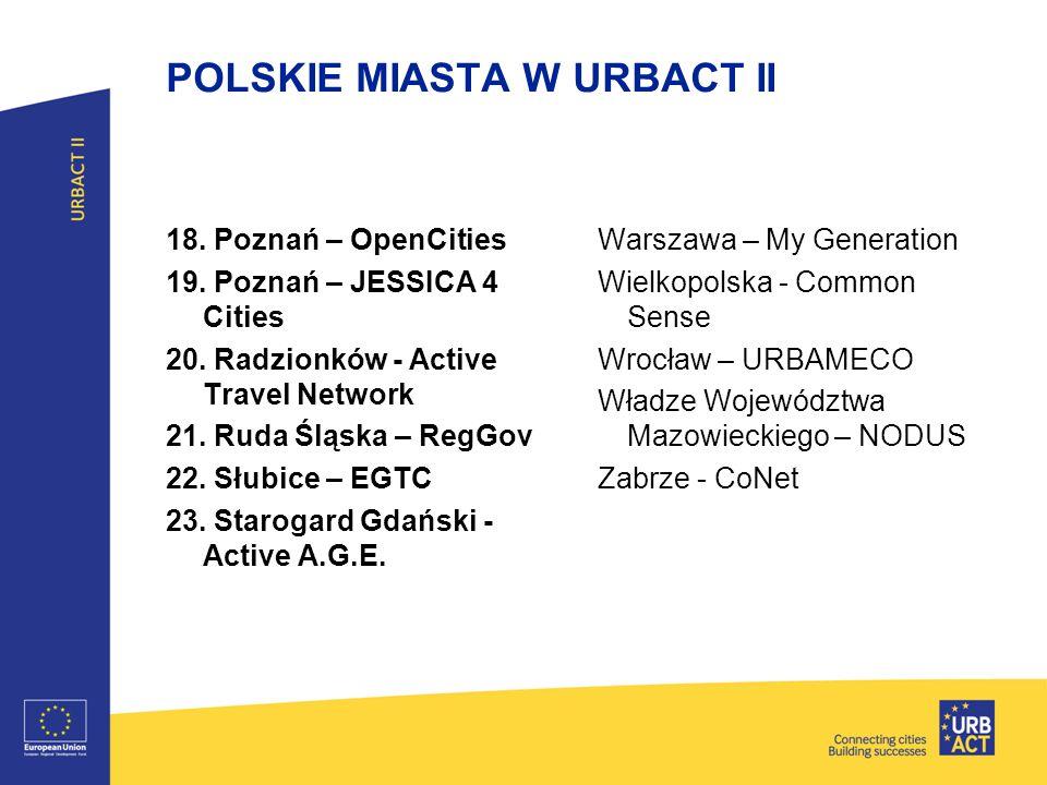POLSKIE MIASTA W URBACT II 18. Poznań – OpenCities 19. Poznań – JESSICA 4 Cities 20. Radzionków - Active Travel Network 21. Ruda Śląska – RegGov 22. S