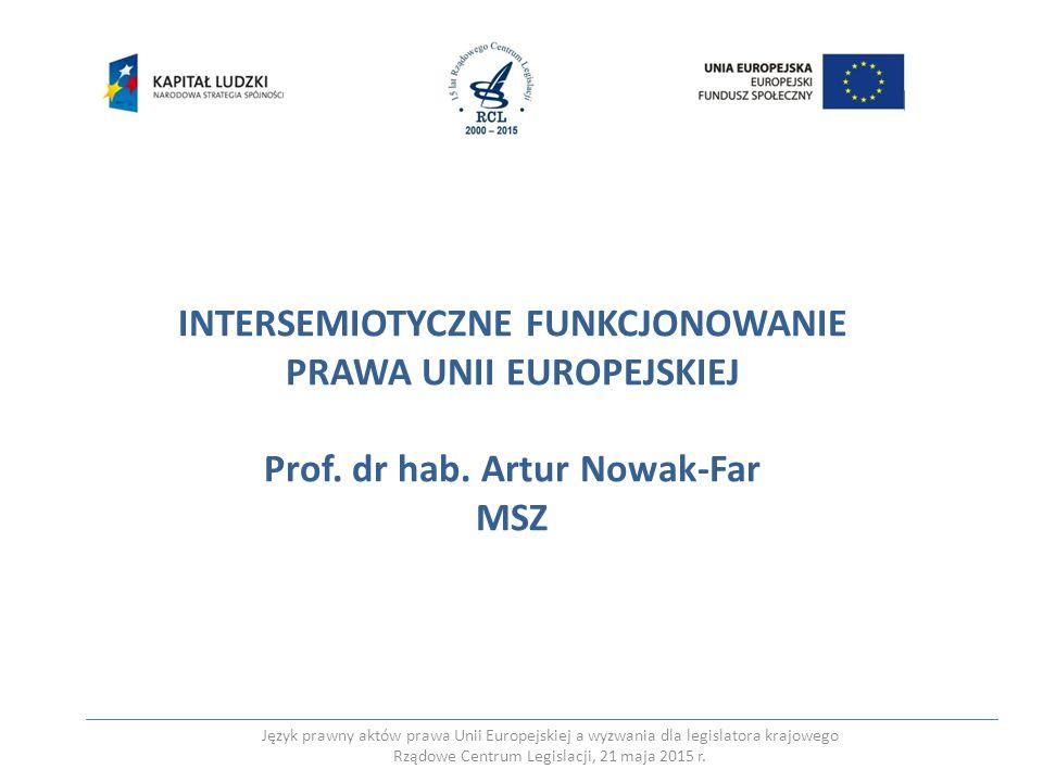 INTERSEMIOTYCZNE FUNKCJONOWANIE PRAWA UNII EUROPEJSKIEJ Prof. dr hab. Artur Nowak-Far MSZ Język prawny aktów prawa Unii Europejskiej a wyzwania dla le