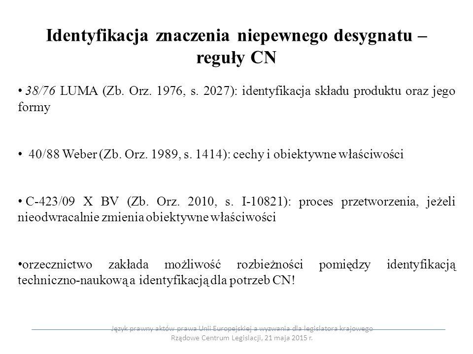 Identyfikacja znaczenia niepewnego desygnatu – reguły CN 38/76 LUMA (Zb. Orz. 1976, s. 2027): identyfikacja składu produktu oraz jego formy 40/88 Webe