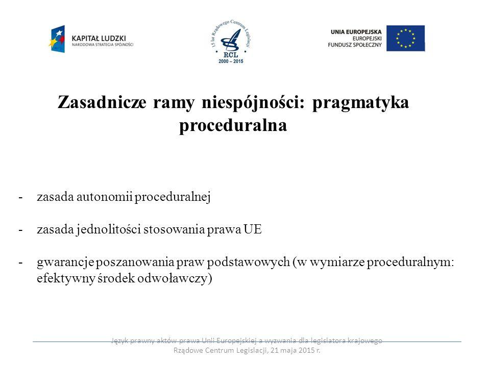 Zasadnicze ramy niespójności: pragmatyka proceduralna -zasada autonomii proceduralnej -zasada jednolitości stosowania prawa UE -gwarancje poszanowania