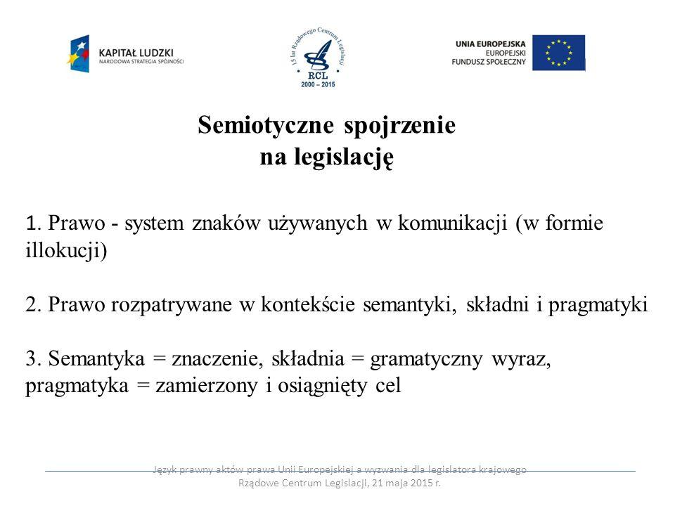 Semiotyczne spojrzenie na legislację 1. Prawo - system znaków używanych w komunikacji (w formie illokucji) 2. Prawo rozpatrywane w kontekście semantyk