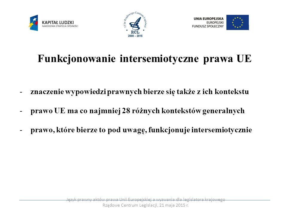 """Zasadnicze wymiary intersemiotyczności prawa UE (Nedegaard, Nielsen 2011) -""""zewnętrzny – wielojęzyczność -"""" struktury pośredniczącej – kultura prawna -""""głębokiej struktury prawa – intelektualny trzon danego porządku prawa Język prawny aktów prawa Unii Europejskiej a wyzwania dla legislatora krajowego Rządowe Centrum Legislacji, 21 maja 2015 r."""