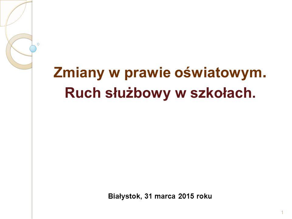Zmiany w prawie oświatowym. Ruch służbowy w szkołach. Białystok, 31 marca 2015 roku 1