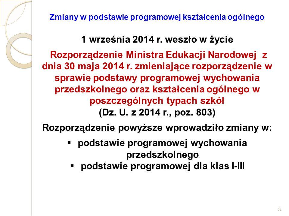 Zmiany w podstawie programowej kształcenia ogólnego 1 września 2014 r. weszło w życie Rozporządzenie Ministra Edukacji Narodowej z dnia 30 maja 2014 r